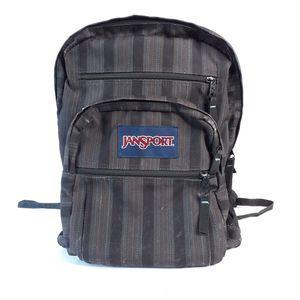 Jansport Big Student Backpack Gray Black Stripes